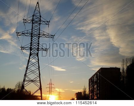 Sky and Electric tower in City