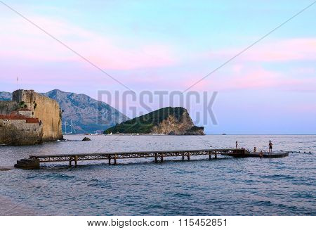 Evening View Of Sveti Nikola Island, Budva, Montenegro