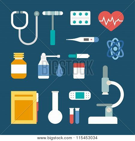 Set Of Vector Flat Style Medical Icons And Objects. Stethoscope, Medical Supplies, Microscope, Therm