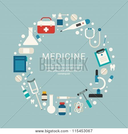 Medical Icons And Objects In The Shape Of Circle. Vector Illustration In Flat Design Style With Plac