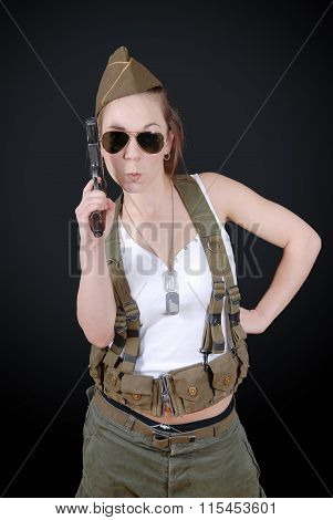 Sexy Young Woman Posing In Ww2 Military Uniform And Weapon