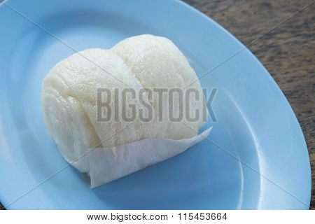 The steamed chinese bun on the dish