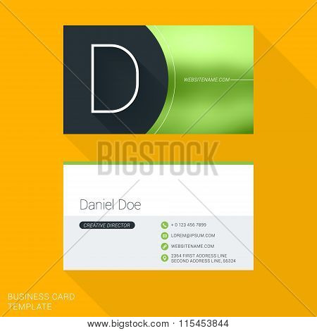 Creative Business Card Template. Letter D. Flat Design Vector Illustration. Stationery Design