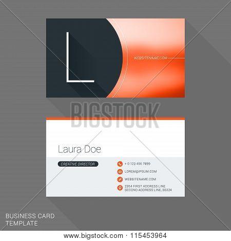 Creative Business Card Template. Letter L. Flat Design Vector Illustration. Stationery Design