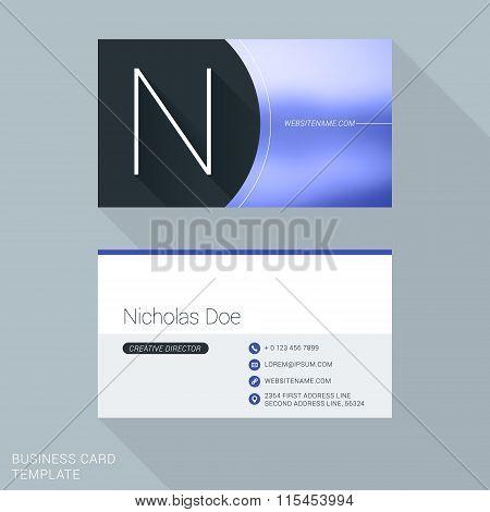 Creative Business Card Template. Letter N. Flat Design Vector Illustration. Stationery Design