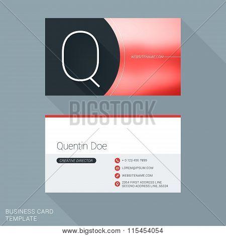 Creative Business Card Template. Letter Q. Flat Design Vector Illustration. Stationery Design