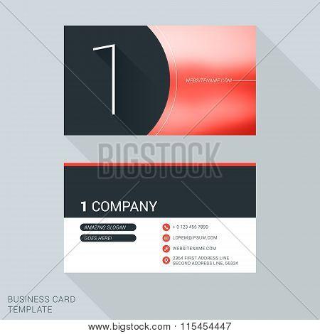 Creative Business Card Template. Number One. Flat Design Vector Illustration. Stationery Design