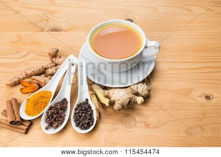 Healthy Turmeric Tea With Black Pepper, Cinnamon, Cloves And Ginger