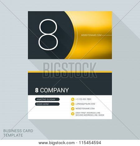 Creative Business Card Template. Number Eight. Flat Design Vector Illustration. Stationery Design