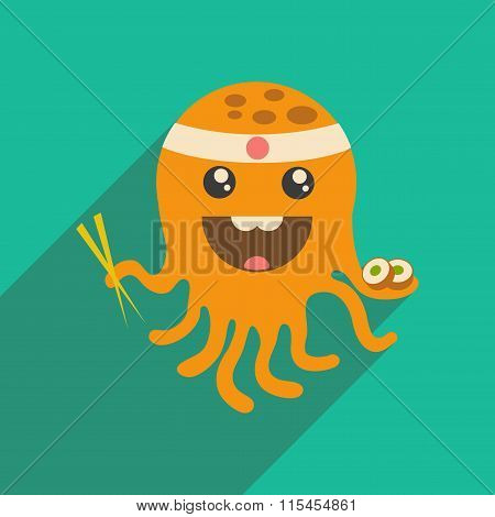 flat icon with long shadow octopus sushi