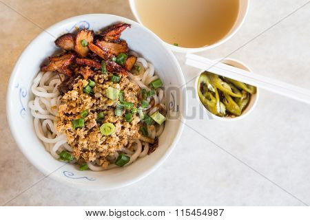 Delicious Chinese Udon Noodle With Minced And Bbq Pork