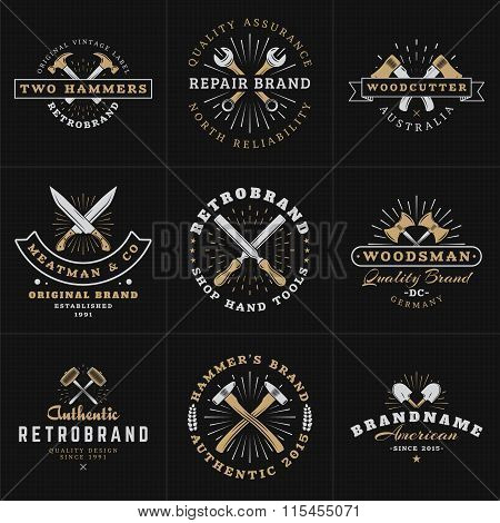 Set Of Hipster Vintage Labels, Logotypes, Badges For Your Business. Hammer, Wrench, Axe, Shovel, Kni