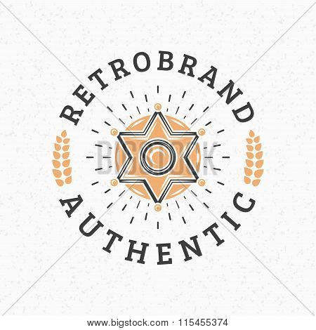 Sheriff Badge. Vintage Retro Design Elements For Logotype, Insignia, Badge, Label. Business Sign Tem