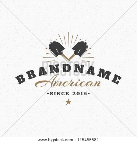 Crossed Shovels. Vintage Retro Design Elements For Logotype, Insignia, Badge, Label. Business Sign T