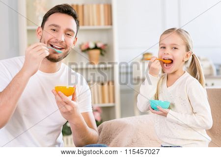 Father and daughter having fun together