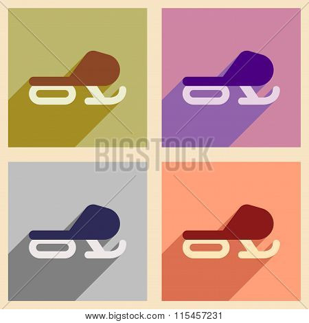 Set of flat web icons with long shadow Snowmobile