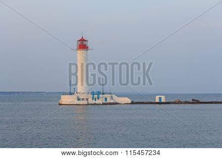 White Lighthouse, The Sea And Coastline. Odessa, Ukraine