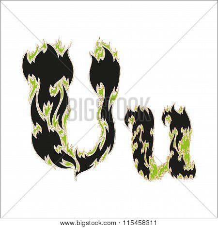 fiery font black and green letter U on white background