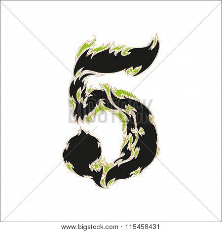 fiery font black and green number 5 on white background