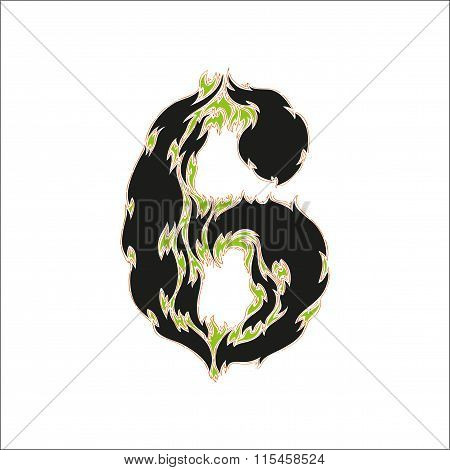 fiery font black and green number 6 on white background