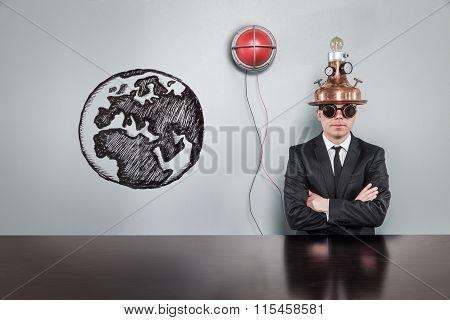 Global concept with alert light and vintage businessman