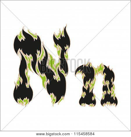 fiery font black and green letter N on white background