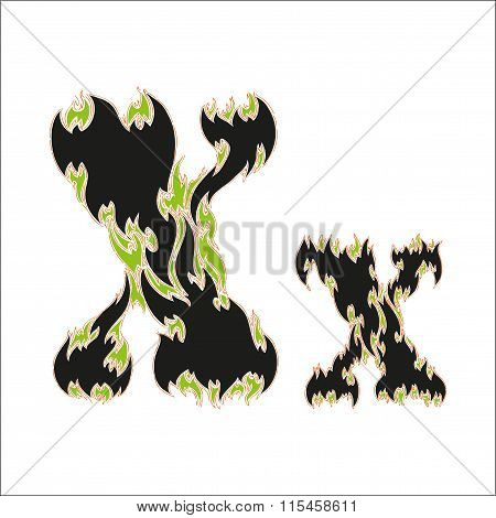 fiery font black and green letter X on white background