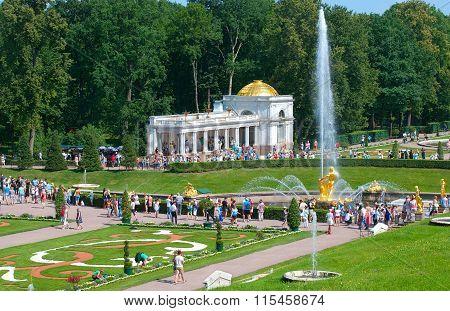 Peterhof. Russia. People in The Lower Park