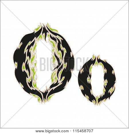 fiery font black and green letter O on white background