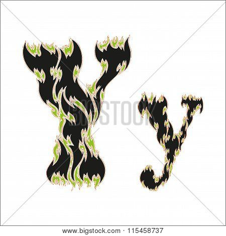 fiery font black and green letter Y on white background