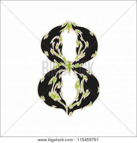 fiery font black and green number 8 on white background