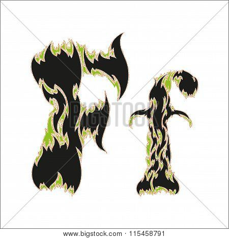 fiery font black and green letter F on white background