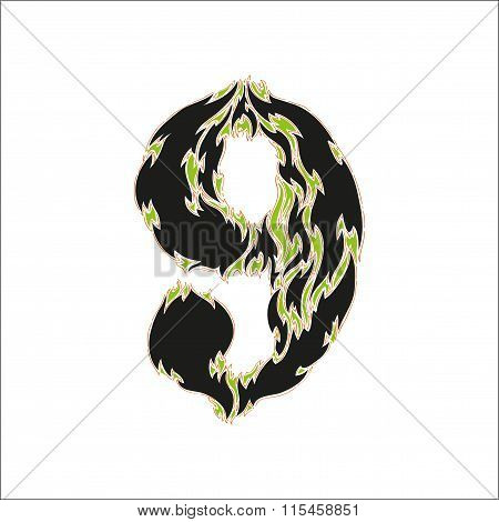 fiery font black and green number 9 on white background