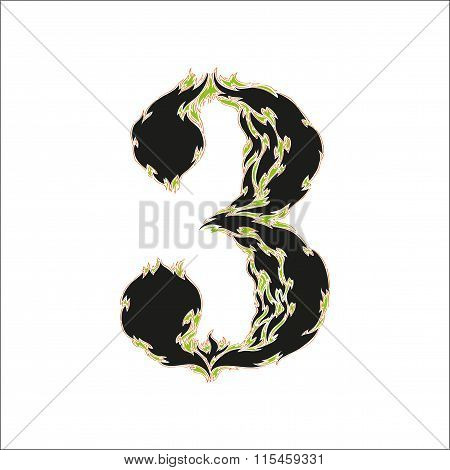 fiery font black and green number 3 on white background