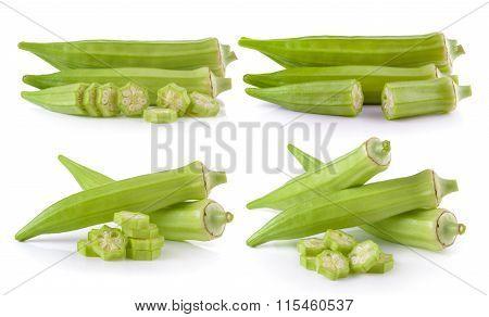 Fresh Okra Or Green Roselle On White Background