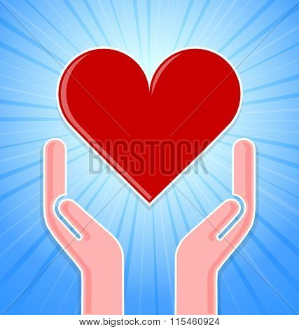 Caring hands with red heart on blue background with rays