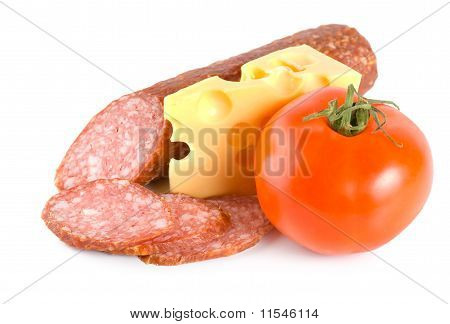 Cheese, tomato and sausage