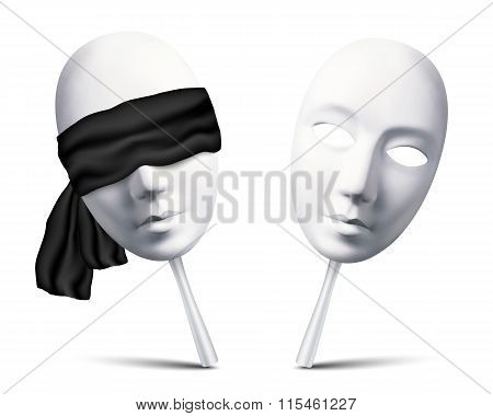 Couple of white blindfolded masks for mafia game