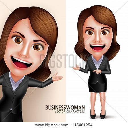 Business Woman Vector Character with Friendly Smile Showing Presentation