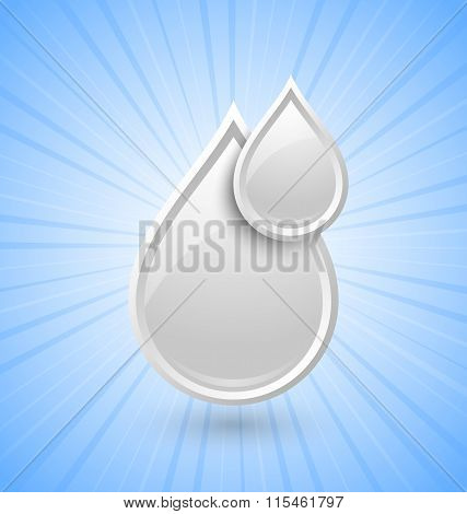 White glossy milk or cream drops icon placed on background with sun burst effect