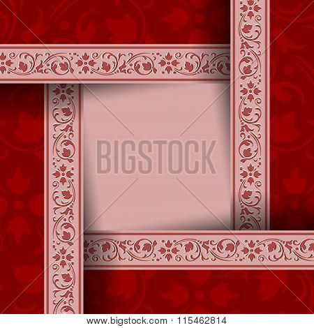 Red ornamental document template in vintage style