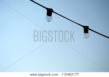 Light bulbs hanging on a wire