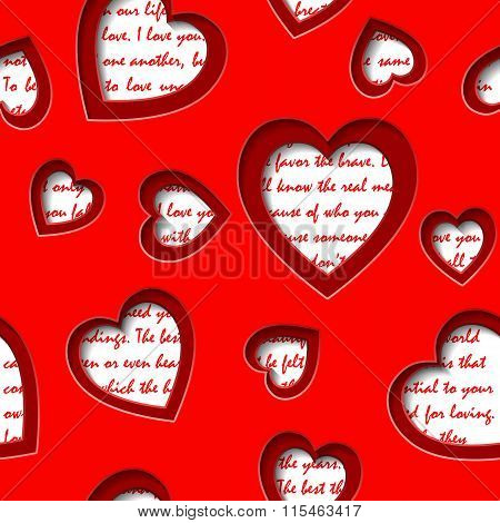 Seamless Background With Cut Out  Hearts And Text About Love