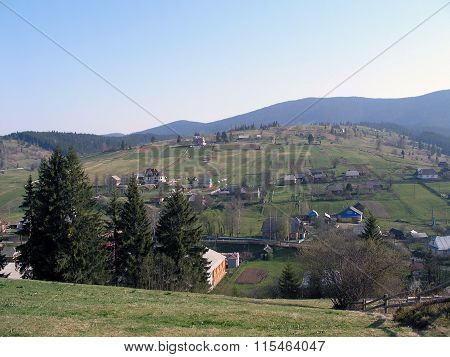 Mountain Village In The Spring.