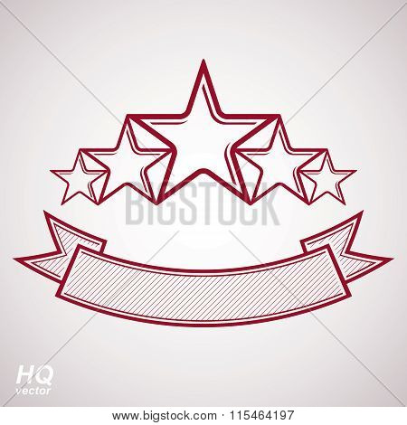 Vector monarch symbol. Festive graphic emblem with five pentagonal stars and curvy ribbon, decorativ