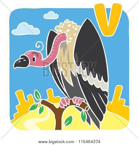 Children illustration of funny vulture Alphabeth U