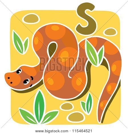 Children vector illustration of snake. Alphabet S