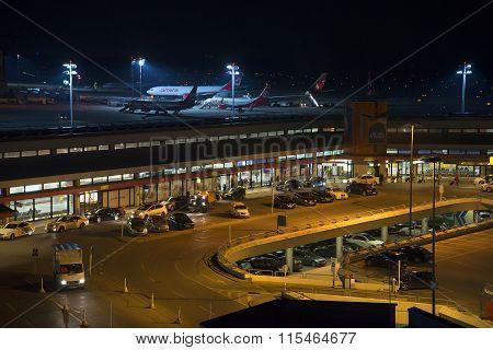 Berlin airport at night