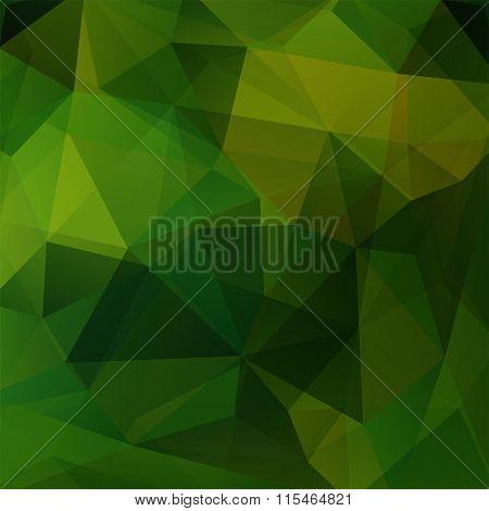Geometric Pattern, Polygon Triangles Vector Background In Dark Green Tones. Illustration Pattern