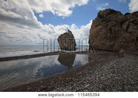 Rock Of Aphrodite In Cyprus. View Of The Sea